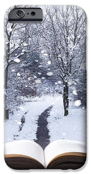 Open iPhone Cases - Winter Woodland Book iPhone Case by Amanda And Christopher Elwell