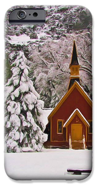 Wintertime iPhone Cases - Winter Yosemite Chapel iPhone Case by Heidi Smith