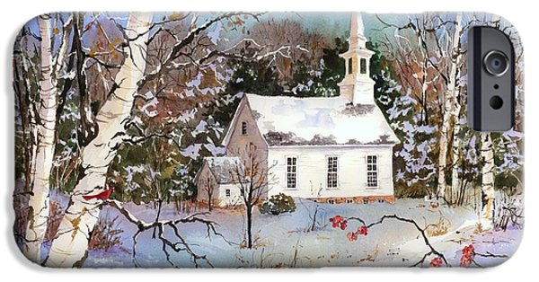 Recently Sold -  - New England Snow Scene iPhone Cases - Winterberries iPhone Case by Sherri Crabtree