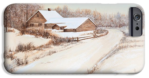Comfort Paintings iPhone Cases - Winterness iPhone Case by Michelle Wiarda