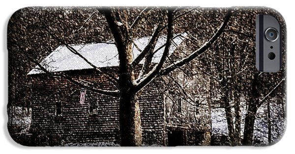 Cabin Window Digital iPhone Cases - Winters At The Farm iPhone Case by Tricia Marchlik
