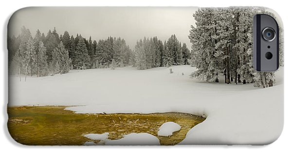 Wintertime iPhone Cases - Winters Contrast - Yellowstone National Park iPhone Case by Sandra Bronstein
