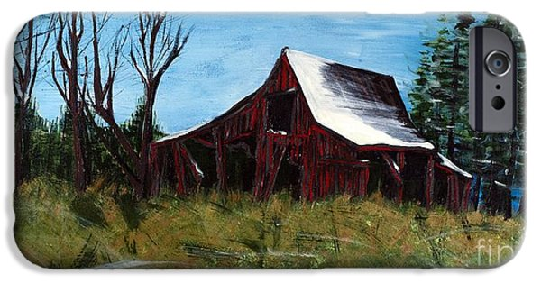 Best Sellers -  - Red Barn In Winter iPhone Cases - Winters End iPhone Case by Becca Lynn Weeks