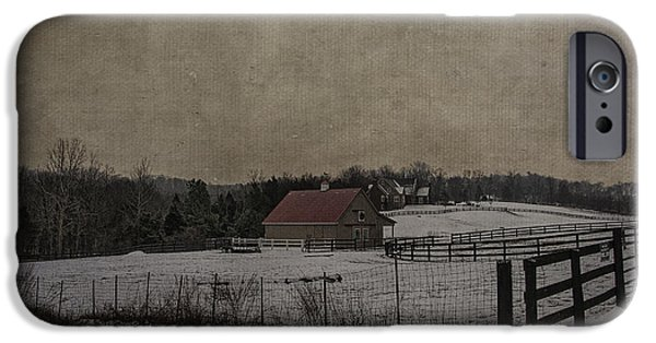 Red Roofed Barn iPhone Cases - Winters Farm iPhone Case by Terry Rowe