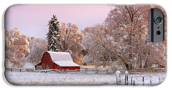 Best Sellers -  - Red Barn In Winter iPhone Cases - Winters Glow iPhone Case by Reflective Moment Photography And Digital Art Images