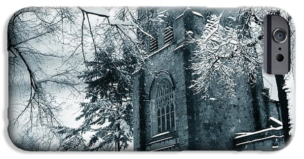 Monotone Digital iPhone Cases - Winters Gothic iPhone Case by Jessica Jenney