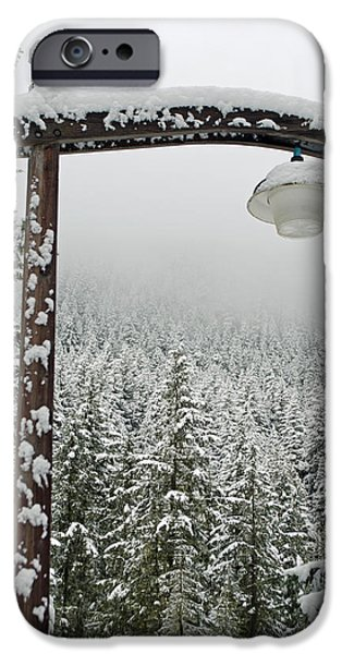 Snow Scene iPhone Cases - Winters Lamp Post iPhone Case by Roger Reeves  and Terrie Heslop