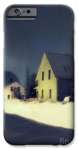 Snowy Evening iPhone Cases - Snowy Night iPhone Case by HD Connelly