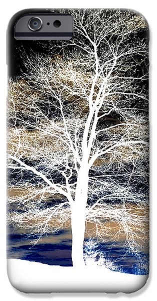 Wintertime Mixed Media iPhone Cases - Winters Night Sky iPhone Case by Janine Riley