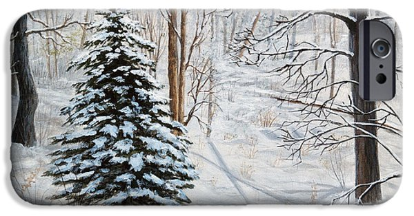 Michigan Paintings iPhone Cases - Winters Peace iPhone Case by Vicky Path