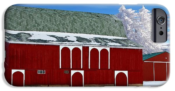 Red Barn In Winter iPhone Cases - Winters Shine iPhone Case by Pat Cook