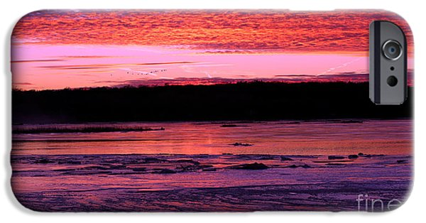 Winter Storm iPhone Cases - Winters Sunset iPhone Case by Elizabeth Winter