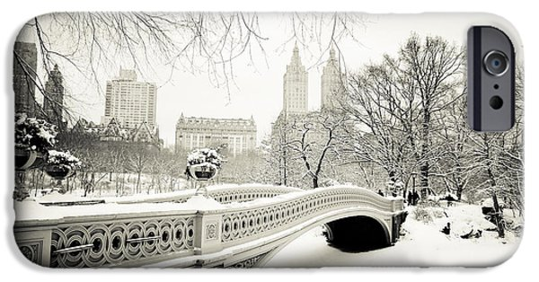 Winter Landscape iPhone Cases - Winters Touch - Bow Bridge - Central Park - New York City iPhone Case by Vivienne Gucwa