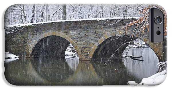 Wintertime iPhone Cases - Wintertime at Bells Mill Road iPhone Case by Bill Cannon