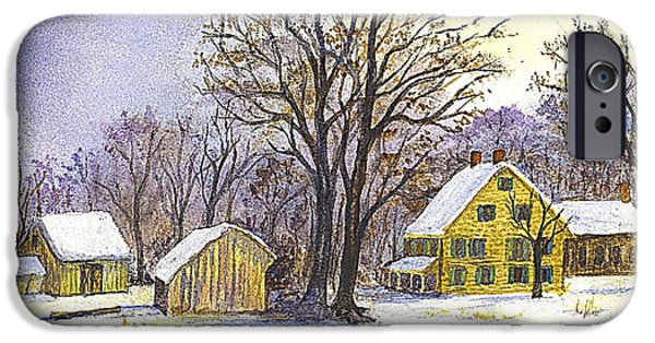 Shed Drawings iPhone Cases - Wintertime in The Country iPhone Case by Carol Wisniewski
