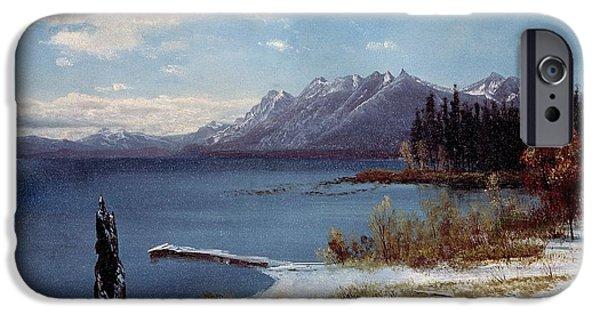 Wintertime iPhone Cases - Wintertime Lake Tahoe in winter the Sierra Nevada California iPhone Case by Albert Bierstadt