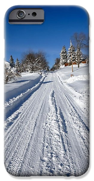 Winter Storm iPhone Cases - Wintery Road iPhone Case by Amy Cicconi
