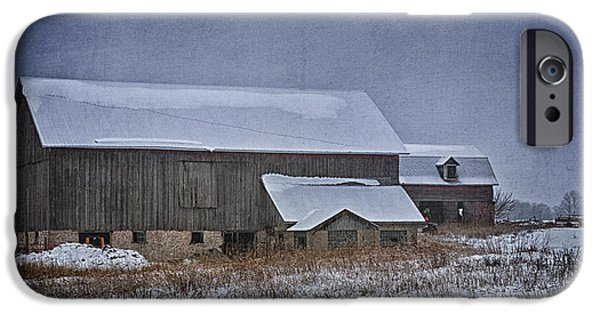 Agriculture iPhone Cases - Wintry Barn iPhone Case by Joan Carroll