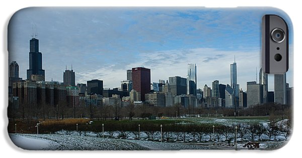 Willis Tower iPhone Cases - Wintry Windy City Skyline - Chicago Illinois iPhone Case by Georgia Mizuleva