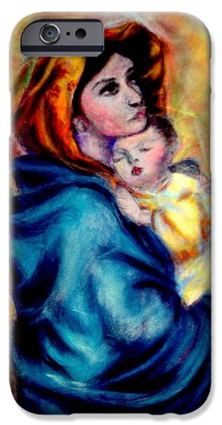 Religious Pastels iPhone Cases - WIP Madonnina or Madonna of The Streets Rendition in Pastel Original Oil by Roberto Ferrizzi iPhone Case by Antonia Citrino