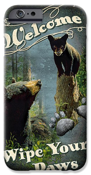 Black Bear iPhone Cases - Wipe Your Paws iPhone Case by JQ Licensing