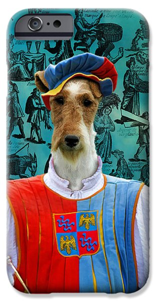 Fox Terrier iPhone Cases - Wire Fox Terrier Art Canvas Print iPhone Case by Sandra Sij