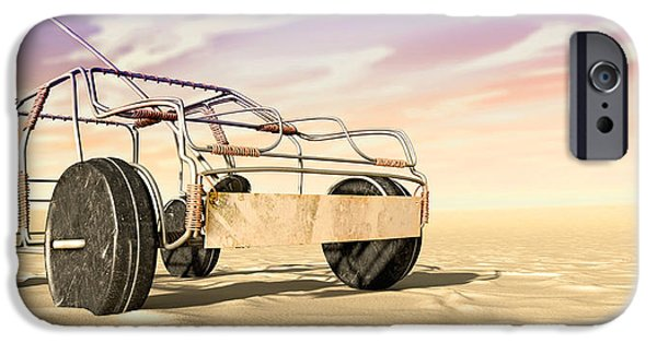 Soil Digital Art iPhone Cases - Wire Toy Car In The Desert Perspective iPhone Case by Allan Swart