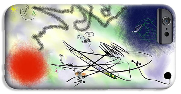 Abstract Digital Paintings iPhone Cases - Wiring Two Stars for High Speed Outernet iPhone Case by Alex Retivov