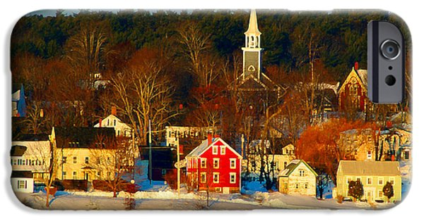 Winter In Maine iPhone Cases - Wiscasset Maine iPhone Case by John Kacz