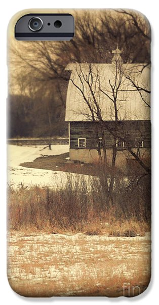 Rural Snow Scenes iPhone Cases - Wisconsin Barn in Winter iPhone Case by Jill Battaglia