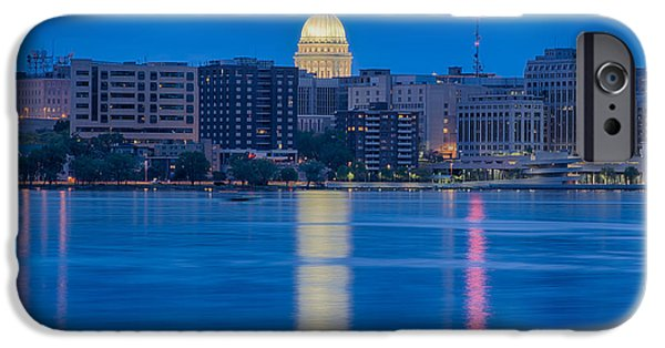 Politician iPhone Cases - Wisconsin Capitol Reflection iPhone Case by Sebastian Musial