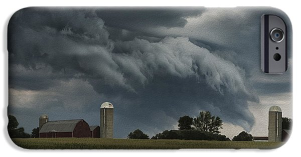 Shed Digital Art iPhone Cases - Wisconsin Farm iPhone Case by Jack Zulli