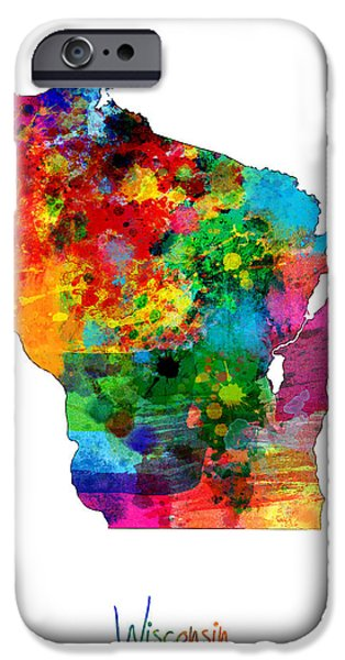 United States iPhone Cases - Wisconsin Map iPhone Case by Michael Tompsett