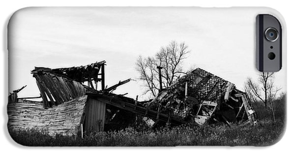 Old Barns iPhone Cases - Wisconsin Old Barn 6 Black and White iPhone Case by Ms Judi