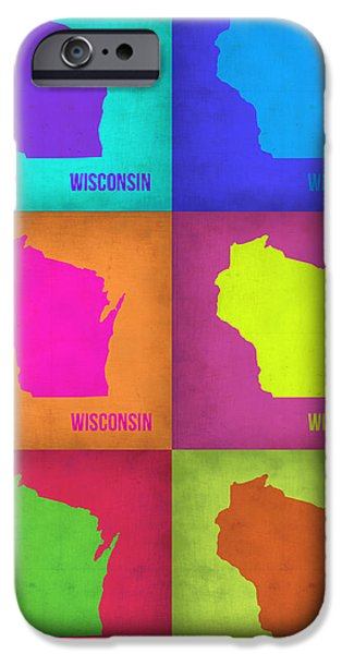 World Map Poster Digital Art iPhone Cases - Wisconsin Pop Art Map 2 iPhone Case by Naxart Studio