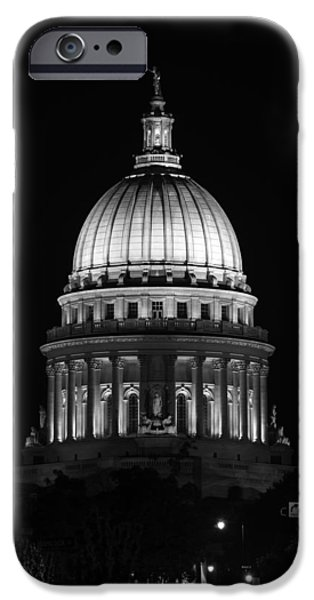 Politician iPhone Cases - Wisconsin State Capitol Building at Night Black and White iPhone Case by Sebastian Musial