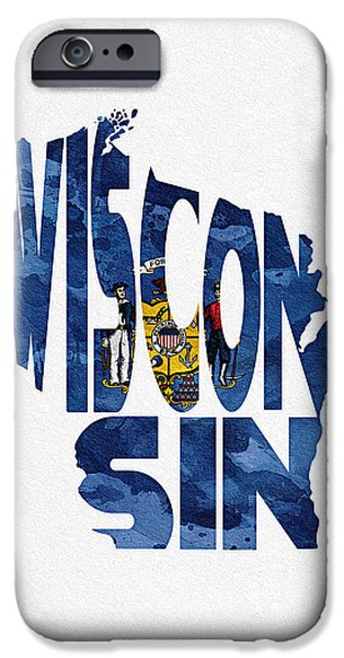 Original Watercolor iPhone Cases - Wisconsin Typographic Map Flag iPhone Case by Ayse Deniz