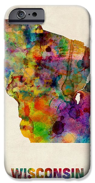 Geography iPhone Cases - Wisconsin Watercolor Map iPhone Case by Michael Tompsett