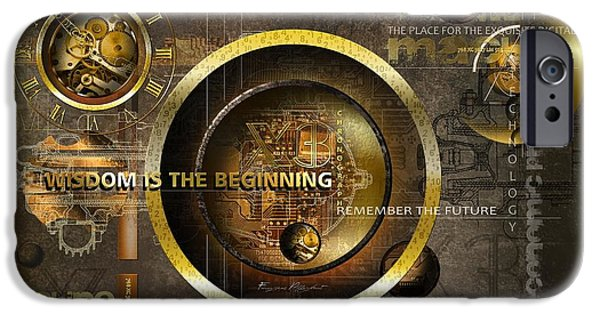 Clockwork iPhone Cases - Wisdom is the Beginning iPhone Case by Franziskus Pfleghart