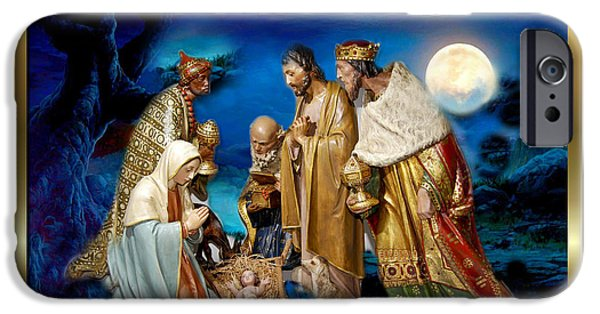 Christmas Greeting iPhone Cases - Wise Men Still Seek Him 3 iPhone Case by Karen Showell