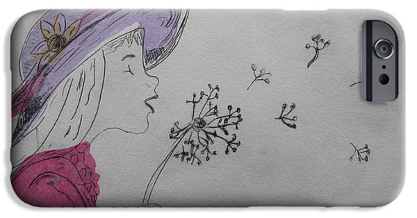 Drypoint iPhone Cases - Wish Upon a Dandelion in Colour iPhone Case by Jennifer Schwab