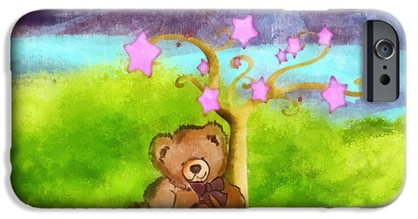 Star Nursery Paintings iPhone Cases - Wish Upon a Star iPhone Case by Mo T