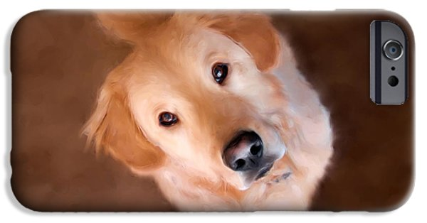 Dog Close-up Paintings iPhone Cases - Wishful Thinking iPhone Case by Christina Rollo