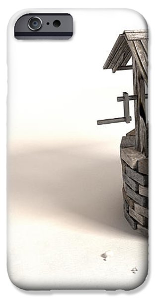 Wishing Well With Wooden Bucket And Rope iPhone Case by Allan Swart