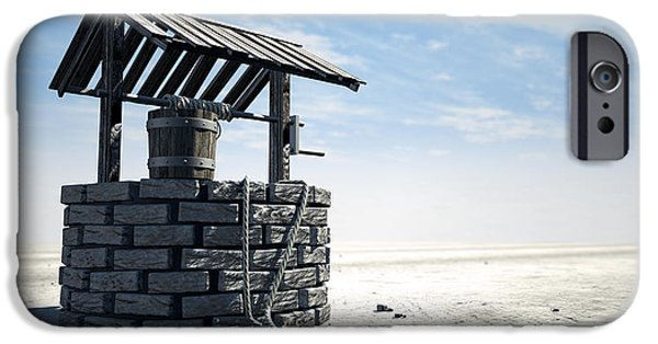 Pail iPhone Cases - Wishing Well With Wooden Bucket On A Barren Landscape iPhone Case by Allan Swart