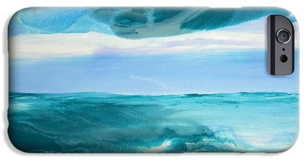 Abstract Seascape iPhone Cases - Wispering Waves iPhone Case by Arrachme Art