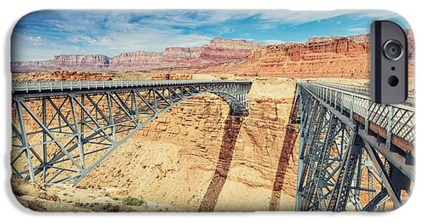 Grand Canyon iPhone Cases - Wispy Clouds Over Navajo Bridge North Rim Grand Canyon Colorado River iPhone Case by Silvio Ligutti