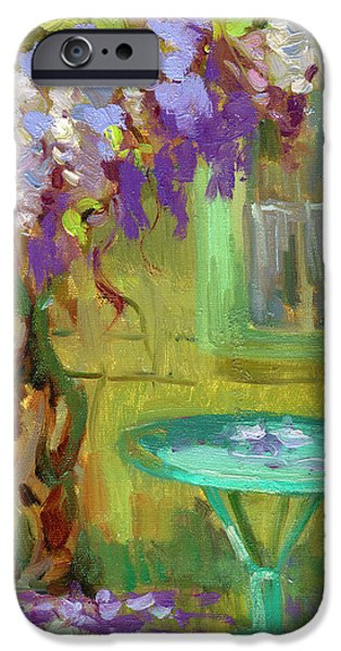 Garden Scene iPhone Cases - Wisteria At Hotel Baudy iPhone Case by Diane McClary