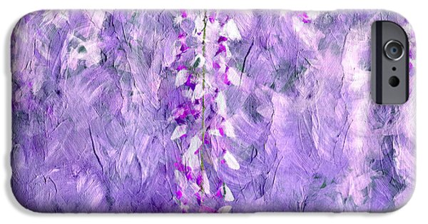 Business iPhone Cases - Wisteria Grunge Abstract iPhone Case by Georgiana Romanovna