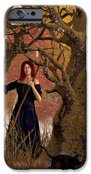 Harvest Time iPhone Cases - Witch of the Autumn Forest  iPhone Case by Daniel Eskridge